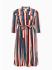 Multi Stripe Challis Self-Tie Midi Shirt Dress, MULTI STRIPE, hi-res