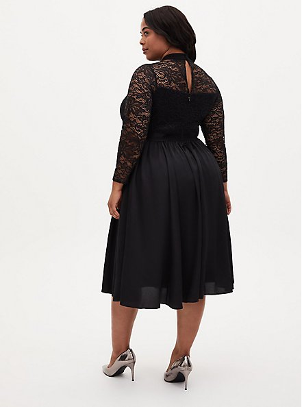 Black Lace Mock Neck Midi Dress, DEEP BLACK, alternate