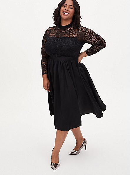Black Lace Mock Neck Midi Dress, DEEP BLACK, hi-res