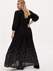 Black Swiss Dot Star Maxi Dress, COSMOS, alternate