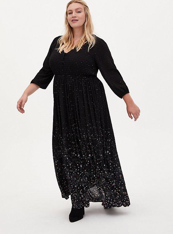 Black Swiss Dot Star Maxi Dress, COSMOS, hi-res