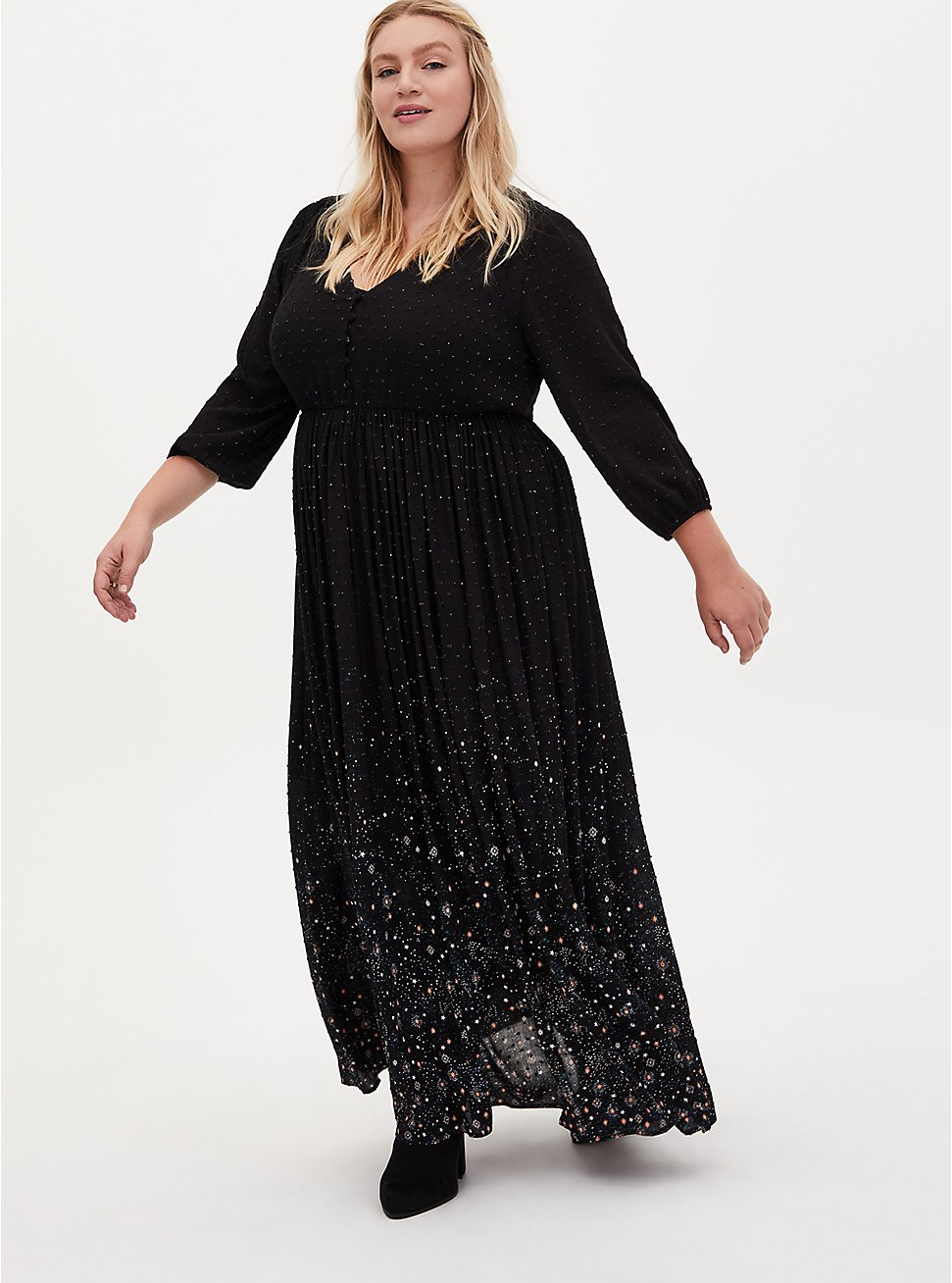 Black Swiss Dot Star Maxi Dress, COSMOS, hi-res