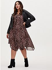 Leopard Chiffon Midi Shirt Dress, MIDI LEOPARD, alternate