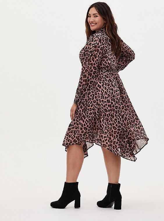 Leopard Chiffon Midi Shirt Dress, , hi-res