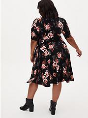 Black Floral Premium Ponte Elbow Sleeve Midi Dress, FLORAL - BLACK, alternate