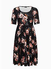 Black Floral Premium Ponte Elbow Sleeve Midi Dress, FLORAL - BLACK, hi-res