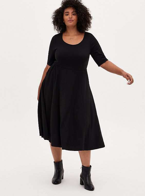 Black Premium Ponte Elbow Sleeve Skater Midi Dress, DEEP BLACK, hi-res