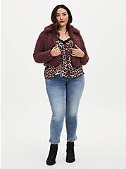 Plus Size Rose Brown Faux Fur Open Front Crop Jacket , ROSE BROWN, alternate