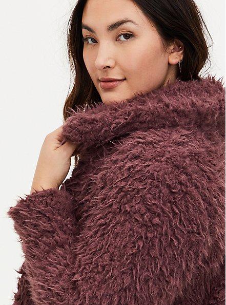 Rose Brown Faux Fur Open Front Crop Jacket , ROSE BROWN, alternate