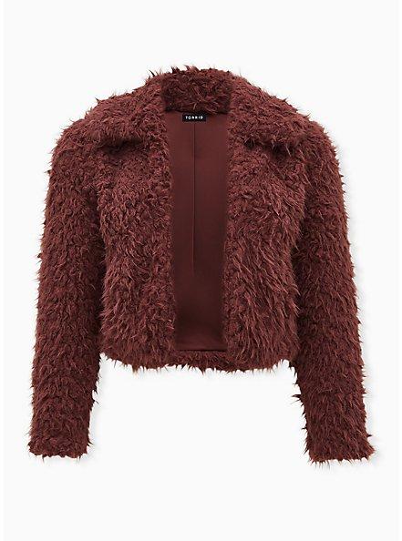 Rose Brown Faux Fur Open Front Crop Jacket , ROSE BROWN, hi-res