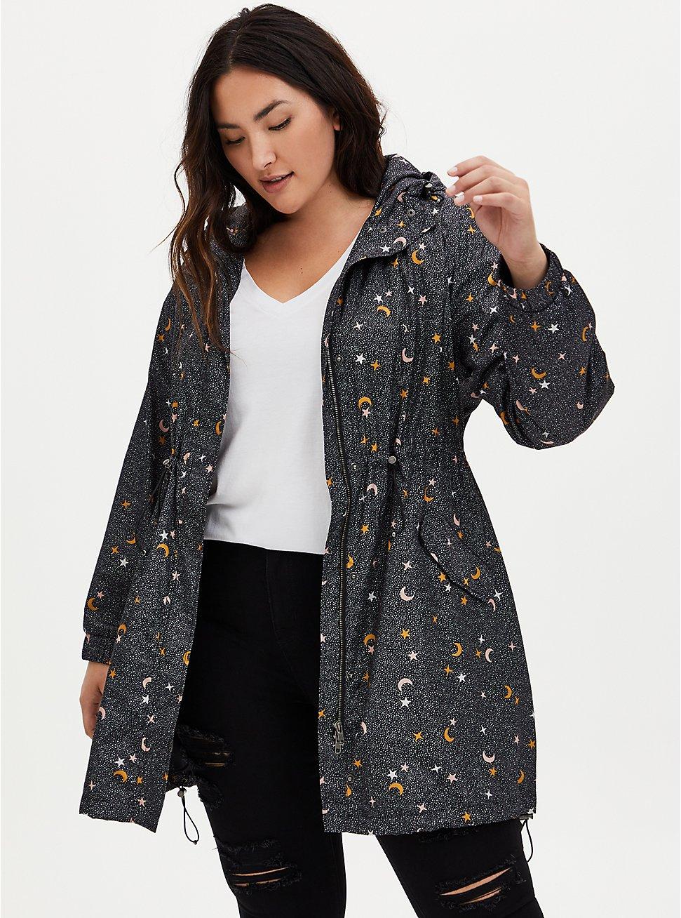 Black Star Nylon Hooded Rain Anorak, CELESTIAL, hi-res