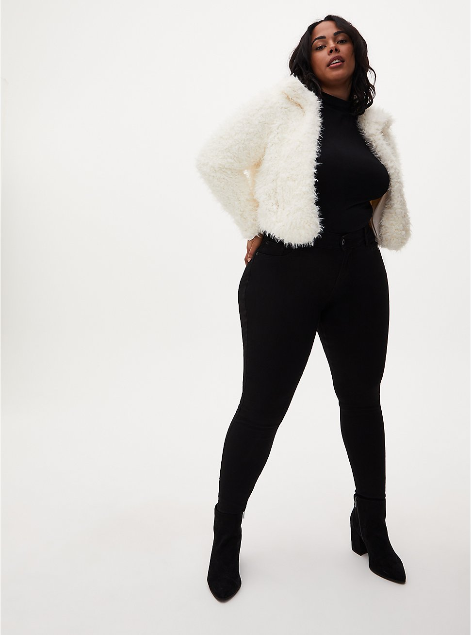 White Faux Fur Open Front Crop Jacket, CLOUD DANCER, hi-res