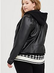 Black Mixed Media Hooded Moto Jacket, DEEP BLACK, alternate