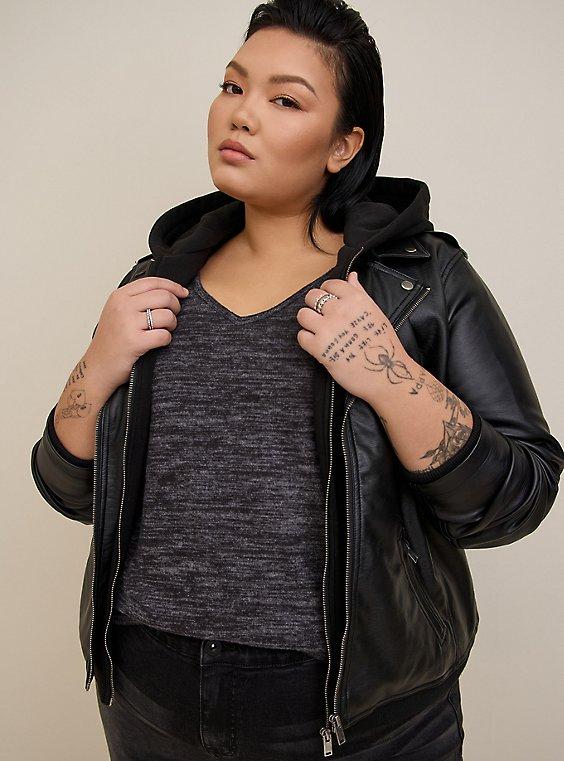 Black Mixed Media Hooded Moto Jacket, , hi-res
