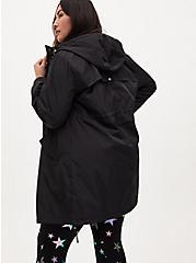 Black Nylon Hooded Longline Rain Jacket, DEEP BLACK, alternate