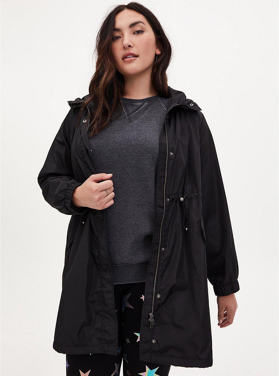 Black Nylon Hooded Longline Rain Jacket, DEEP BLACK, hi-res
