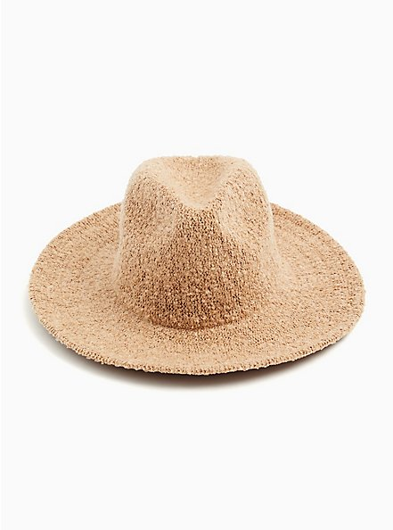 Dark Taupe Boucle Panama Hat, TAN/BEIGE, alternate