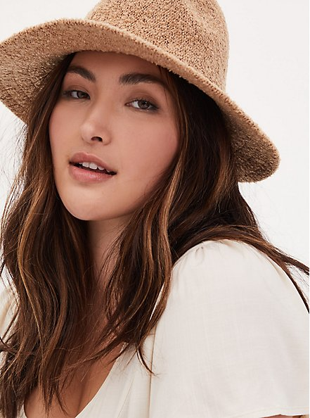 Dark Taupe Boucle Panama Hat, TAN/BEIGE, hi-res