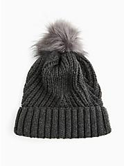 Charcoal Grey Rib Pom-Pom Beanie, , alternate