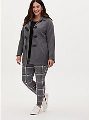 Charcoal Grey Toggle Fleece Jacket, HEATHER GRAY  BLACK, alternate
