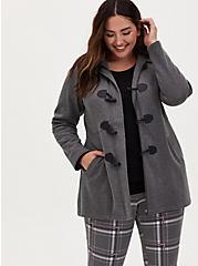 Charcoal Grey Toggle Fleece Jacket, HEATHER GRAY  BLACK, hi-res