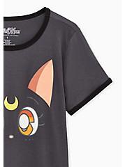 Sailor Moon Luna Classic Fit Ringer Tee - Dark Slate Grey , BRIGHT WHITE, alternate