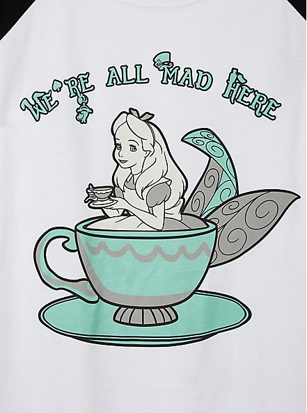 Alice in Wonderland Raglan Tee - White & Black, BRIGHT WHITE, alternate