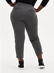 Grey Herringbone Drawstring Pull-On Trouser, GREY HEATHER, alternate