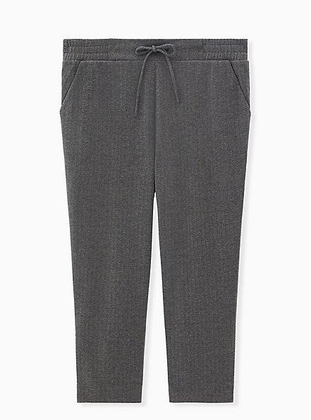 Grey Herringbone Drawstring Pull-On Trouser, GREY HEATHER, hi-res