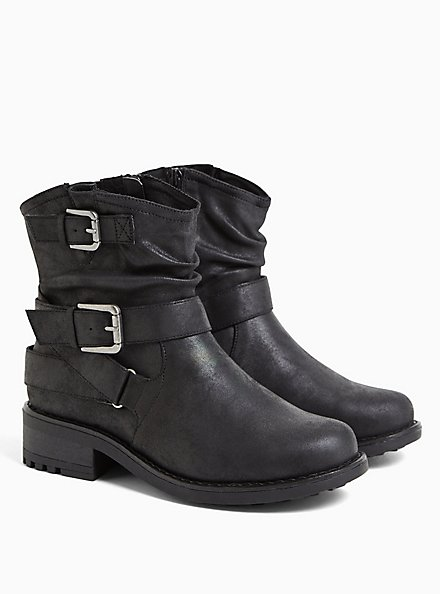 Black Faux Leather Double Buckle Moto Boot (WW), BLACK, alternate