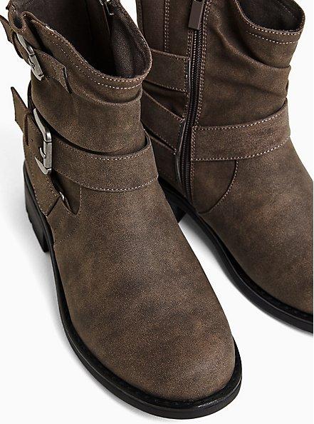 Plus Size Dark Taupe Faux Leather Double Buckle Moto Boot (WW), TAN/BEIGE, alternate