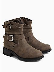 Dark Taupe Faux Leather Double Buckle Moto Boot (WW), TAN/BEIGE, alternate