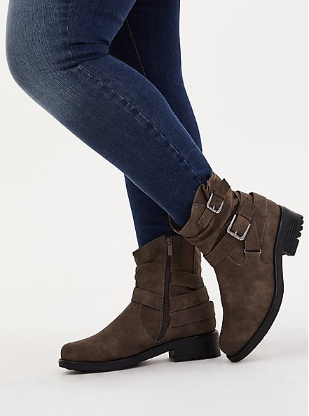 Plus Size Dark Taupe Faux Leather Double Buckle Moto Boot (WW), TAN/BEIGE, hi-res