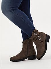 Dark Taupe Faux Leather Double Buckle Moto Boot (WW), TAN/BEIGE, hi-res