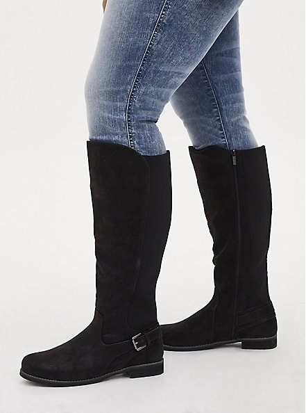 Plus Size Black Oiled Faux Suede Buckle Ankle Knee-High Boot (WW), BLACK, alternate