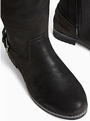 Black Oiled Faux Suede Buckle Ankle Knee-High Boot (WW), BLACK, alternate