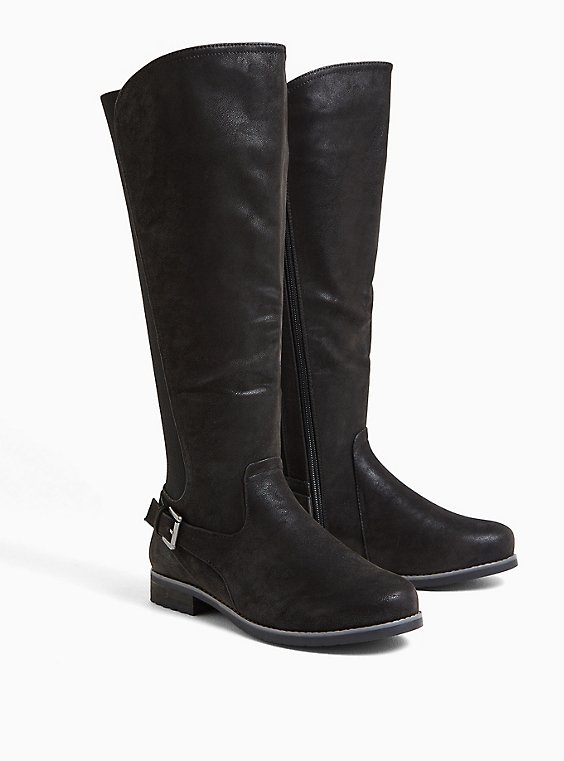 Black Oiled Faux Suede Buckle Ankle Knee-High Boot (WW), , hi-res