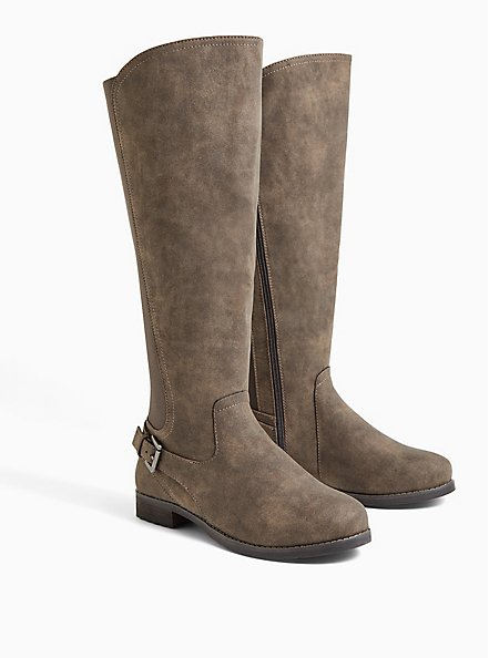 Beige Oiled Suede Buckle Ankle Knee-High Boot (WW), TAN/BEIGE, alternate
