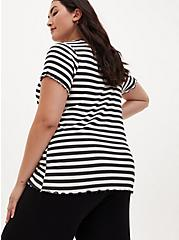 Super Soft Rib Black & White Stripe V-Neck Sleep Tee , MULTI, alternate