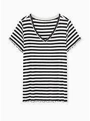 Super Soft Rib Black & White Stripe V-neck Lounge Tee , MULTI, hi-res