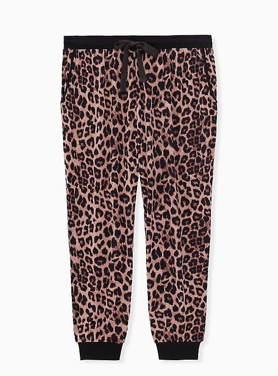 Super Soft Leopard Drawstring Crop Sleep Jogger, , flat
