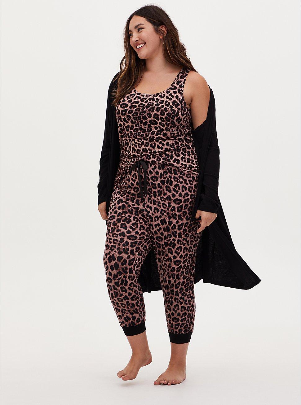 Super Soft Leopard Drawstring Crop Sleep Jogger, , hi-res