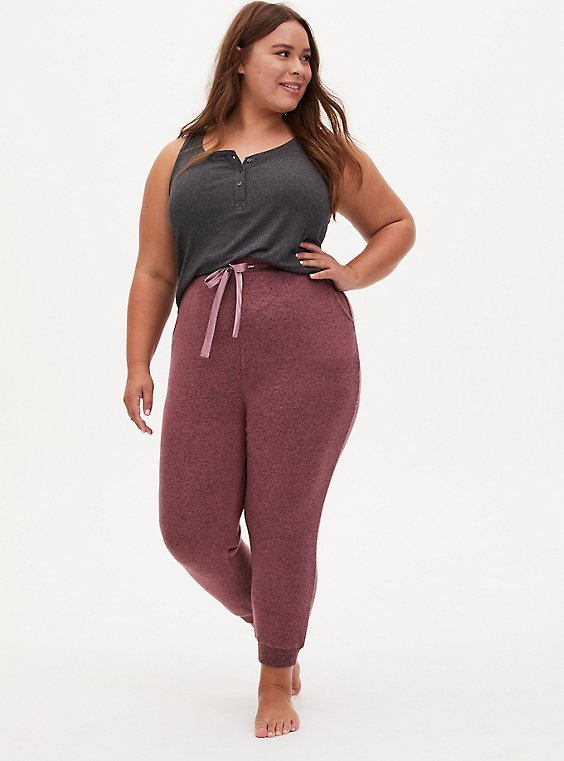 Classic Fit Crop Sleep Jogger - Super Soft Plush Walnut, ROSE BROWN, hi-res
