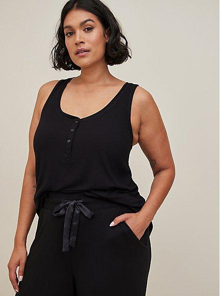 Super Soft Black Wide Leg Drawstring Sleep Pant, DEEP BLACK, alternate