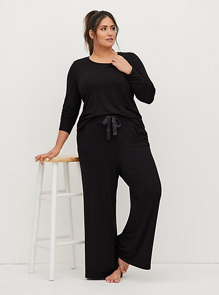 Super Soft Black Wide Leg Drawstring Sleep Pant, DEEP BLACK, hi-res