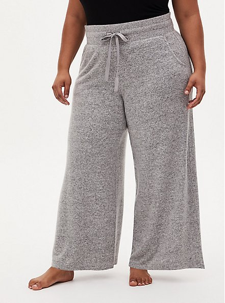 Super Soft Plush Grey Wide Leg Drawstring Sleep Pant, GREY, alternate