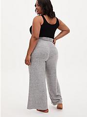 Super Soft Plush Grey Wide Leg Drawstring Sleep Pant, GREY, alternate