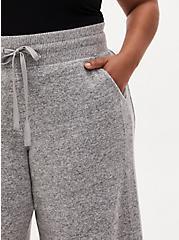 Super Soft Plush Grey Wide Leg Sleep Pant, GREY, alternate
