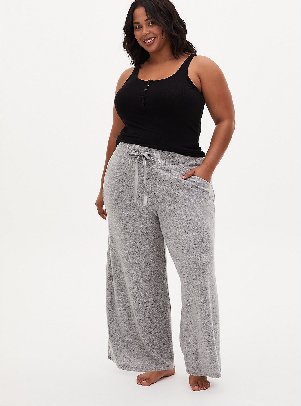 Super Soft Plush Grey Wide Leg Drawstring Sleep Pant, GREY, hi-res