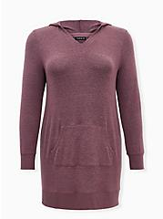 Mauve Pink Hooded Sleep Tunic, MAUVE, hi-res